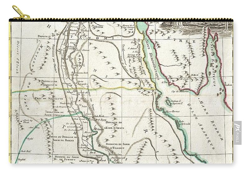 A Beautiful Example Of Rigobert Bonne's 1762 Decorative Map Egypt. Covers From The Nile Delta South As Far As Aswan And The Border With Nubia And Includes The Sinai And Parts Of The Red Sea. Makes Note Of Both Ancient And Modern (c. 1762) Sites. Details Various Sheikdoms Carry-all Pouch featuring the photograph 1762 Bonne Map Of Egypt by Paul Fearn