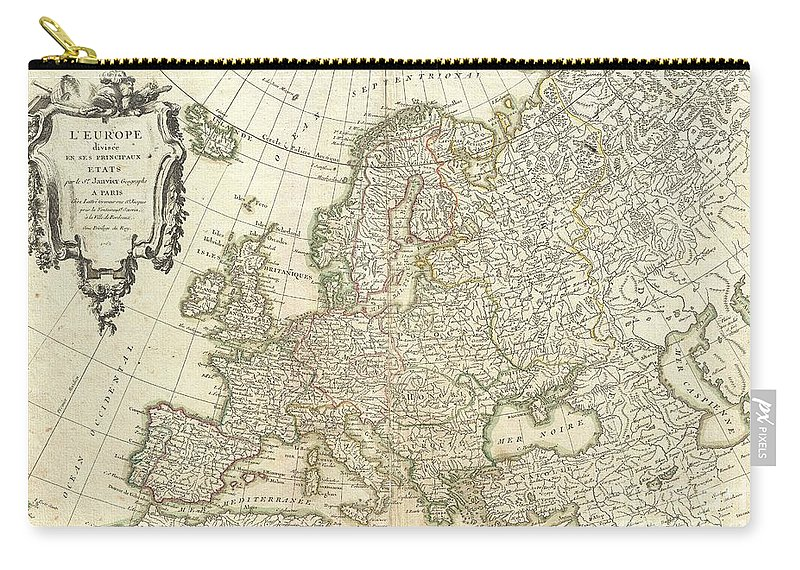 A Beautiful Example Of Jean Janvier's Decorative Map Of The Europe. Covers From Iceland To The Caspian Sea And From North Africa To The Arctic. Divided Into Countries And Kingdoms With Color Coding According To Region. Offers Excellent Detail Throughout Showing Mountains Carry-all Pouch featuring the photograph 1762 Janvier Map Of Europe by Paul Fearn
