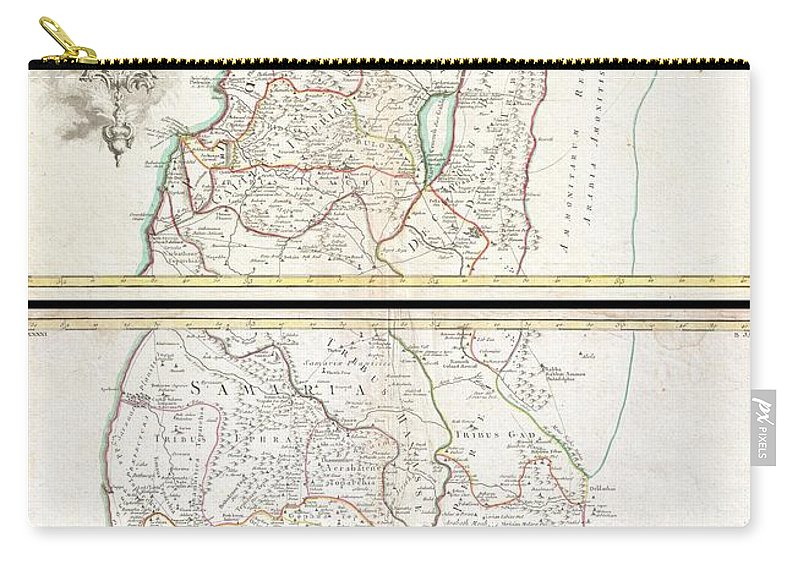 A Beautiful Example Of Guillaume And Joseph De L'isle's 1762 Decorative Map Of The Holy Land Carry-all Pouch featuring the photograph 1763 De Lisle Map Of The Holy Land by Paul Fearn