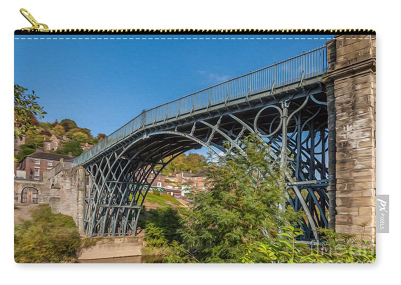 1779 Carry-all Pouch featuring the photograph 1779 Iron Bridge England by Adrian Evans