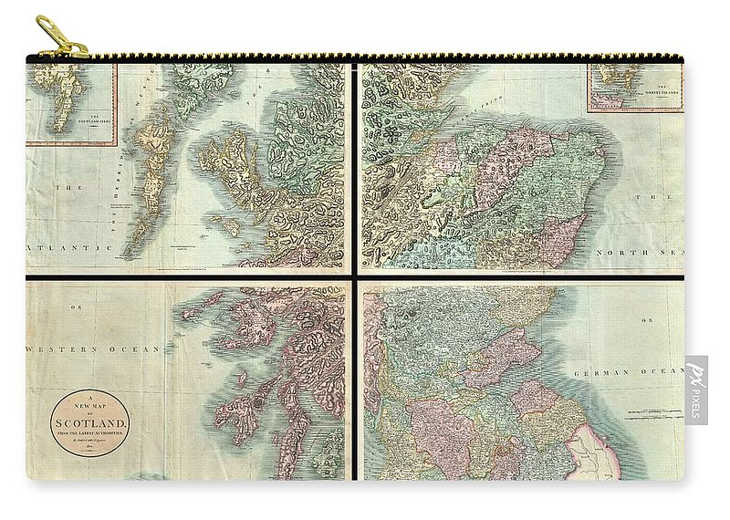 A Very Attractive Example Of John Cary's Stupendous Four Sheet 1801 Map Of Scotland. Covers The Entirety Of Scotland As Well As Parts Of Neighboring England And Ireland. Inset Maps Detail The Orkney Islands And The Shetland Islands. Offers Extraordinary Detail On The Whole Of Scotland With Special Attention To Topography Carry-all Pouch featuring the photograph 1801 Cary Map Of Scotland by Paul Fearn