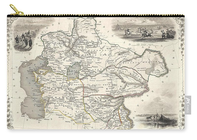 A Highly Decorative 1851 Map Of Independent Tartary By John Tallis And John Rapkin. Covers The Regions Between The Caspian Sea And Lake Bakquash And Between Russia And Afghanistan. These Include The Ancient Silk Route Kingdoms Of Khiva Carry-all Pouch featuring the photograph 1851 Tallis And Rapkin Map Of Independent Tartary by Paul Fearn