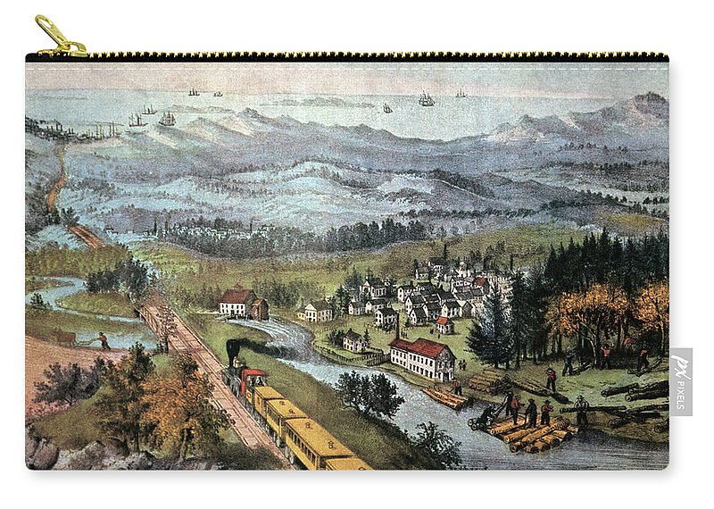 Horizontal Carry-all Pouch featuring the painting 1870s Through To The Pacific By Currier by Vintage Images