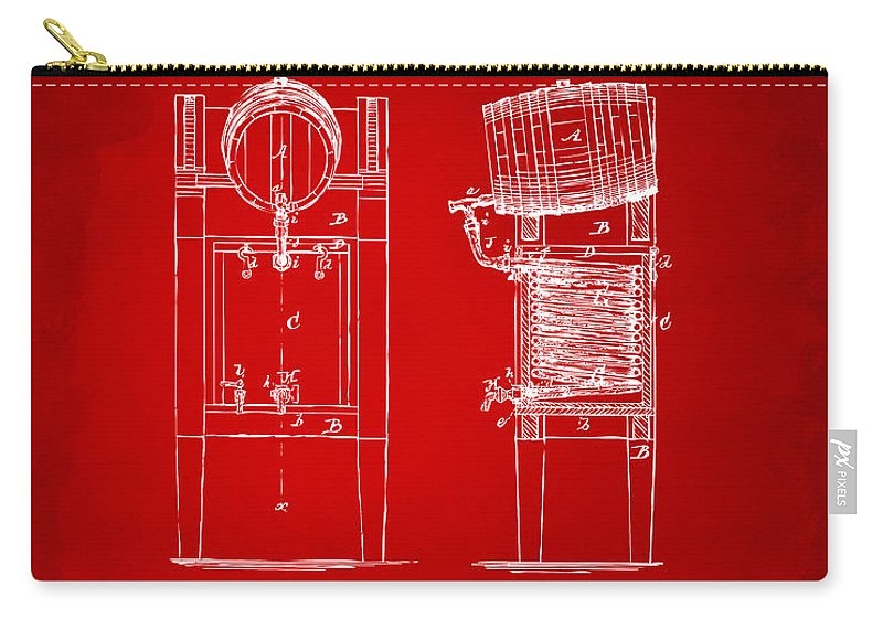 Beer Carry-all Pouch featuring the digital art 1876 Beer Keg Cooler Patent Artwork Red by Nikki Marie Smith