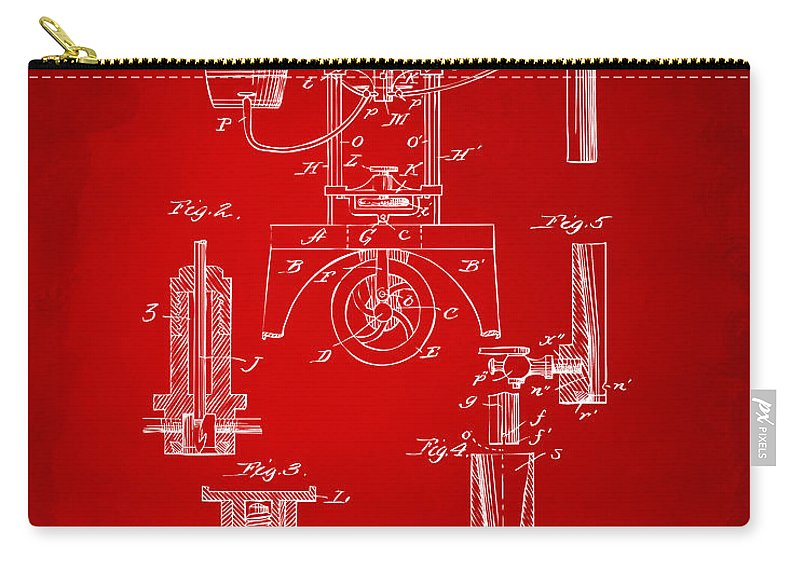 Bottling Machine Carry-all Pouch featuring the digital art 1890 Bottling Machine Patent Artwork Red by Nikki Marie Smith