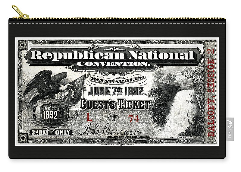 Historicimage Carry-all Pouch featuring the painting 1892 Republican Convention Ticket by Historic Image