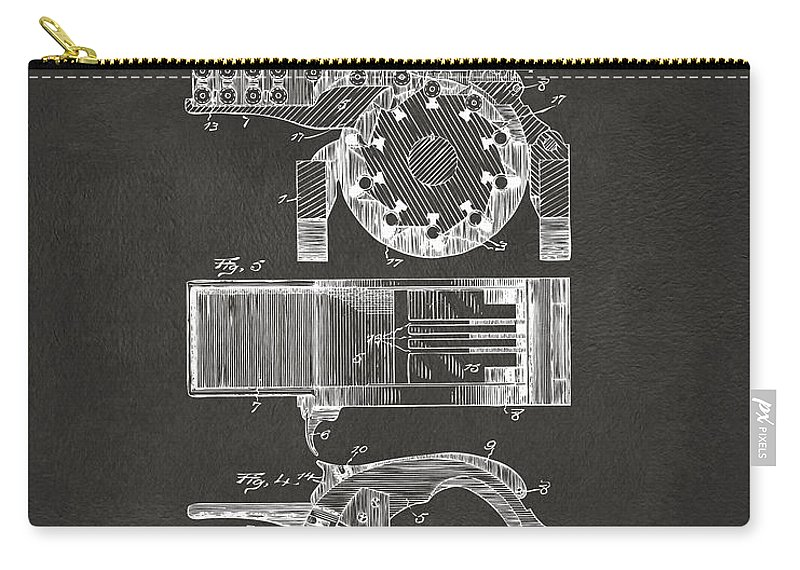 1893 Gatling Machine Gun Feed Patent Artwork - Gray Carry-all Pouch