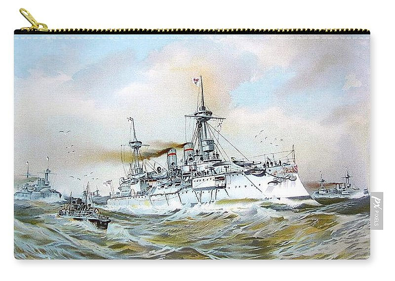 1895 Carry-all Pouch featuring the digital art 1895 - The Brandenburg Squadron At Sea - Color by John Madison