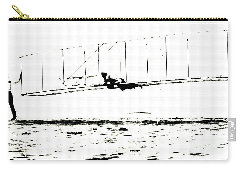 Wilbur Wright Carry-all Pouch featuring the photograph 1902 Wright Brothers Glider Tests by R Muirhead Art