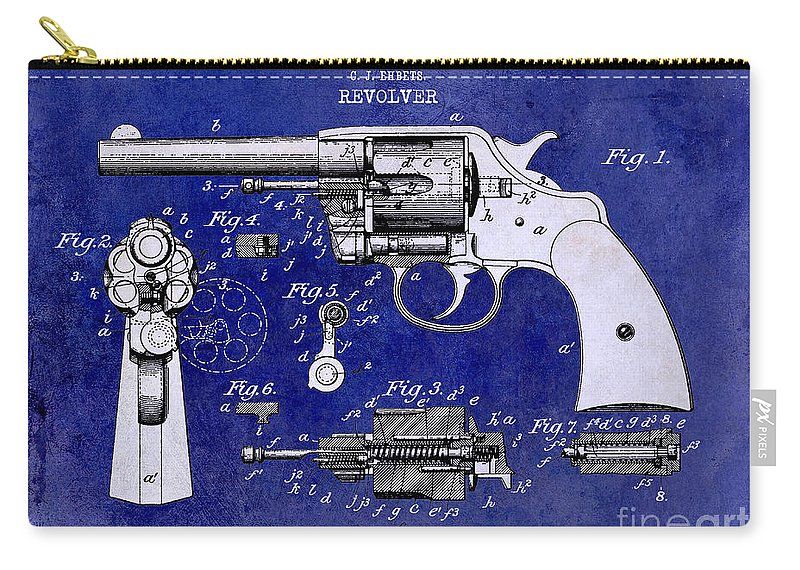 Colt Revolver Carry-all Pouch featuring the photograph 1903 Colt Revolver Patent Drawing Blue 2 Tone by Jon Neidert