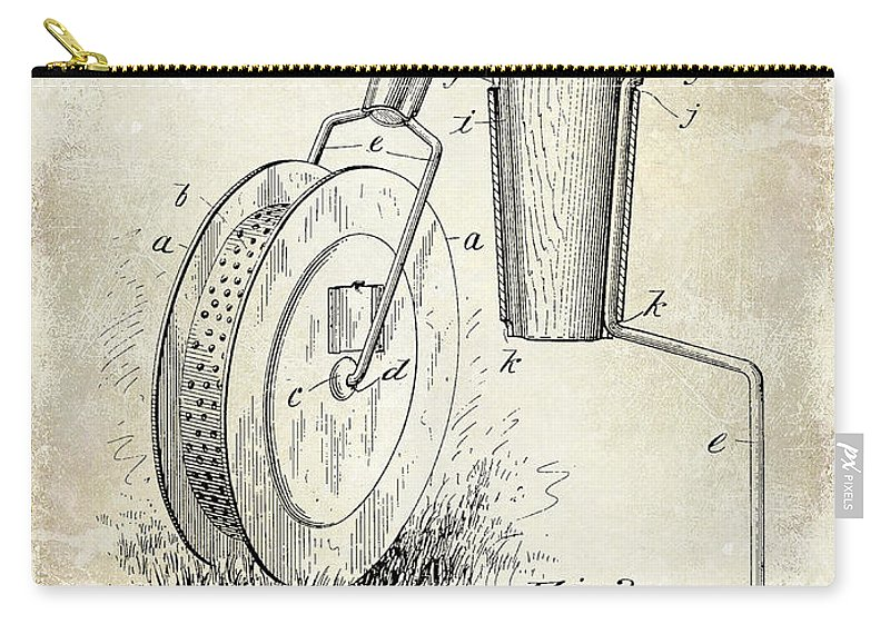 Tennis Carry-all Pouch featuring the photograph 1903 Tennis Court Marker Patent Drawing by Jon Neidert
