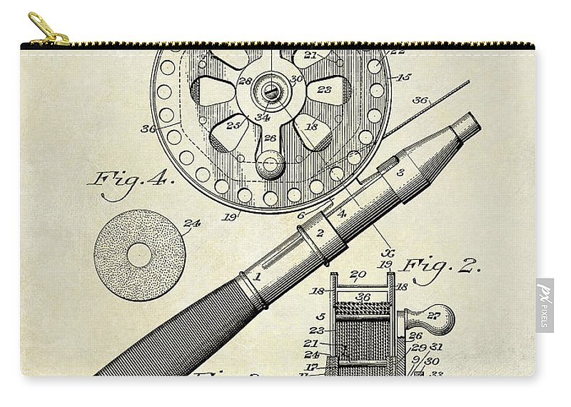 1906 Fishing Reel Patent Drawing Carry All Pouch For Sale By Jon Neidert