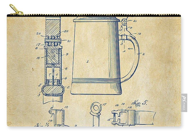 Beer Stein Carry-all Pouch featuring the digital art 1914 Beer Stein Patent Artwork - Vintage 1914 by Nikki Marie Smith