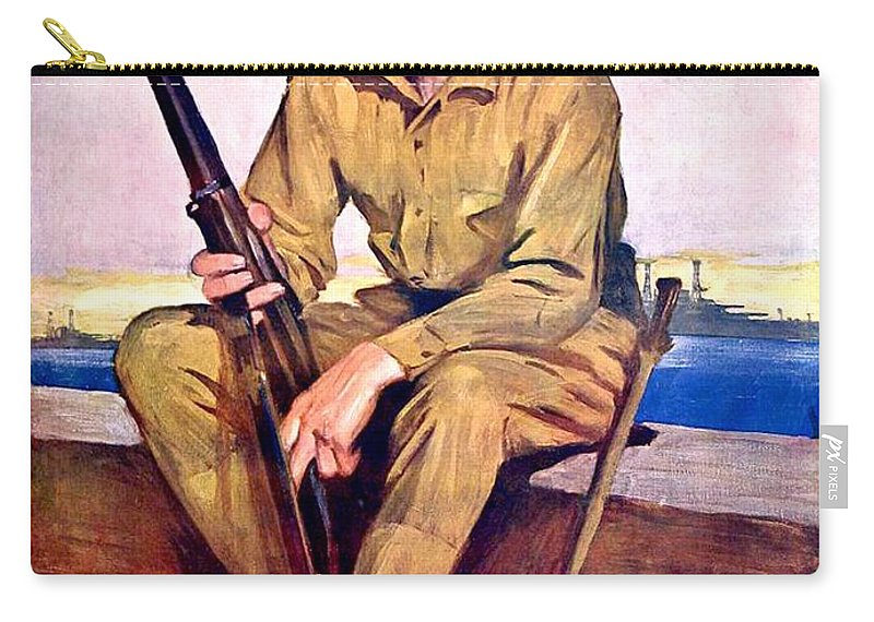 1917 Carry-all Pouch featuring the digital art 1917 - United States Marines Recruiting Poster - World War One - Color by John Madison