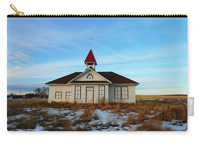 Buildings Carry-all Pouch featuring the photograph 1918 Schoolhouse Macabe Montana by Jeff Swan