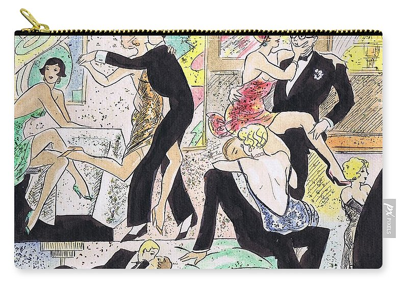 People Carry-all Pouch featuring the drawing 1920s Party 2 by Mel Thompson