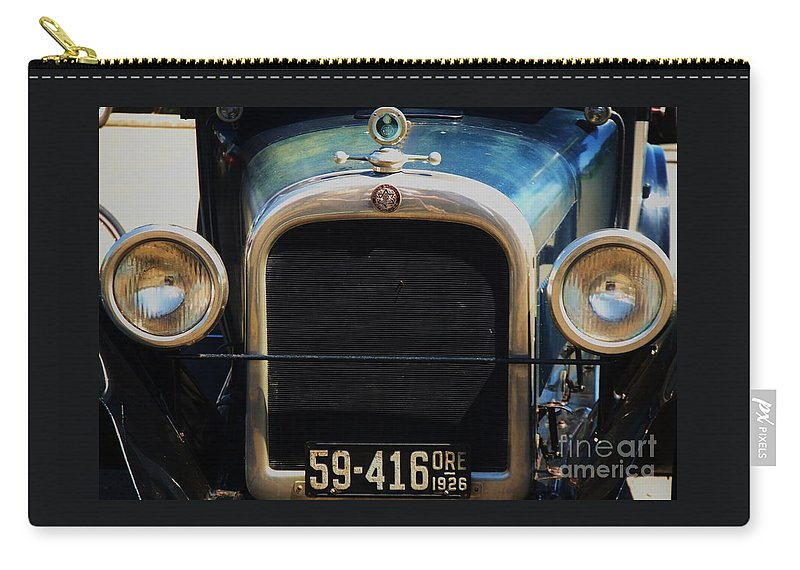 Collectible Car History Antique Car Dodge Oregon Automobile Art Whimsical Magen David Logo Big Lights Astoria Gift For A Car Enthusiast Classic Car Home And Den Decor Metal Frame Wood Print Canvas Print Poster Print Available On Greeting Cards T Shirts Tote Bags Phone Cases Pouches Weekender Tote Bags Mugs Throw Pillows Shower Curtains Duvet Covers And New Wall Tapestries Carry-all Pouch featuring the photograph 1926 Dodge In Astoria Oregon by Marcus Dagan