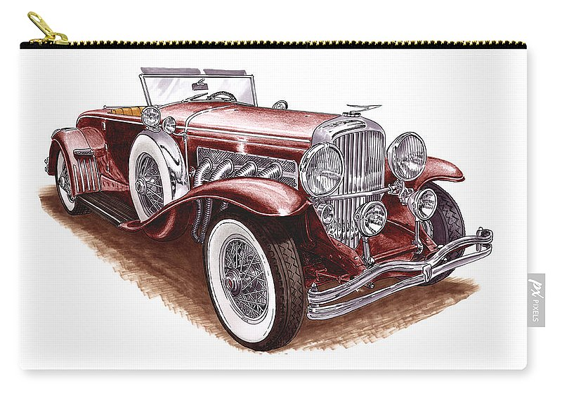 An Art Print Using Colored Pencils Of A 1930 Duesenberh Model J Roadster Coupe Carry-all Pouch featuring the mixed media 1930 Dusenberg Model J by Jack Pumphrey