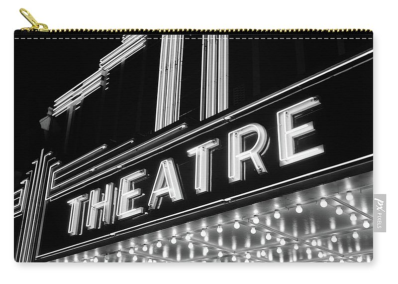 Photography Carry-all Pouch featuring the photograph 1930s 1940s Theater Marquee Theatre by Vintage Images