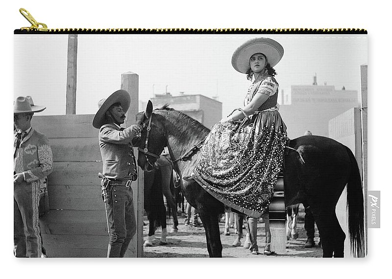 Photography Carry-all Pouch featuring the photograph 1930s Woman Sitting On Horse Wearing by Vintage Images