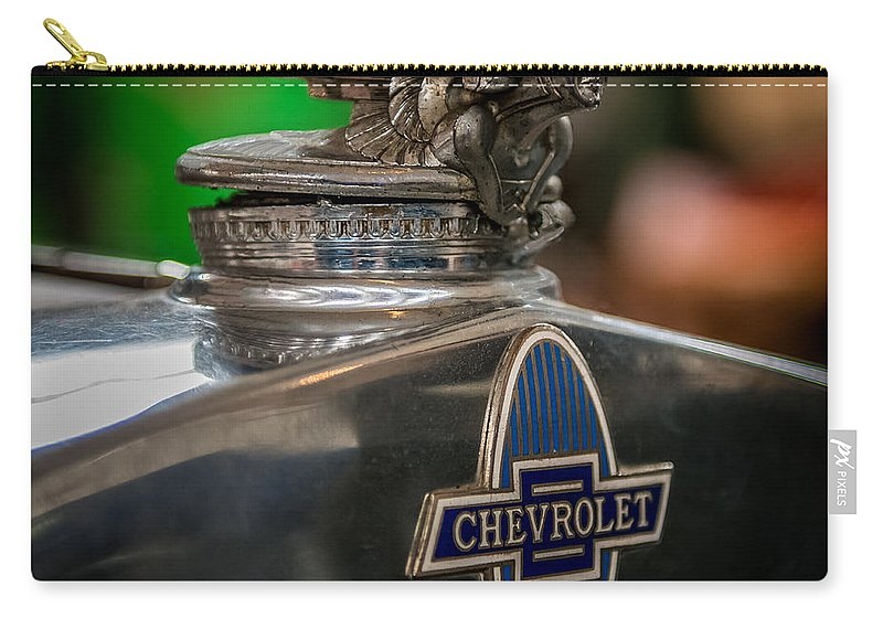 Car Carry-all Pouch featuring the photograph 1931 Chevrolet Emblem by Paul Freidlund