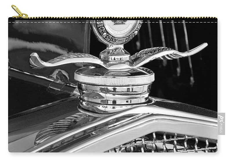 1931 Model A Ford Deluxe Roadster Carry-all Pouch featuring the photograph 1931 Model A Ford Deluxe Roadster Hood Ornament 2 by Jill Reger