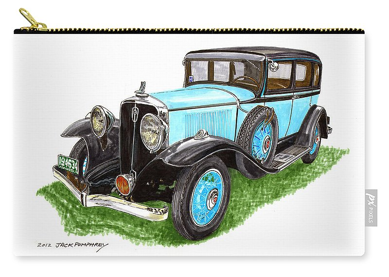 Framed Art Of The 1931 Studebaker President By Jack Pumphrey Carry-all Pouch featuring the painting 1931 Studebaker President by Jack Pumphrey