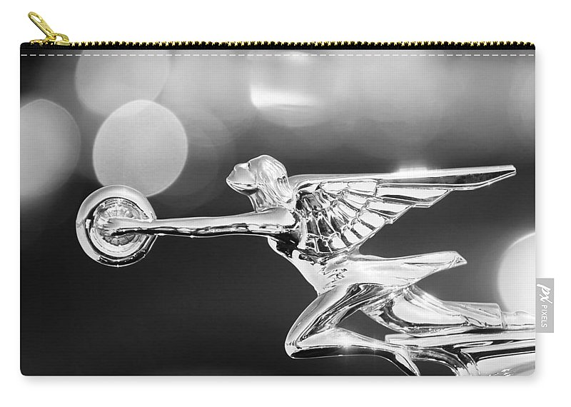 1932 Packard 12 Convertible Victoria Hood Ornament Carry-all Pouch featuring the photograph 1932 Packard 12 Convertible Victoria Hood Ornament -0251bw by Jill Reger