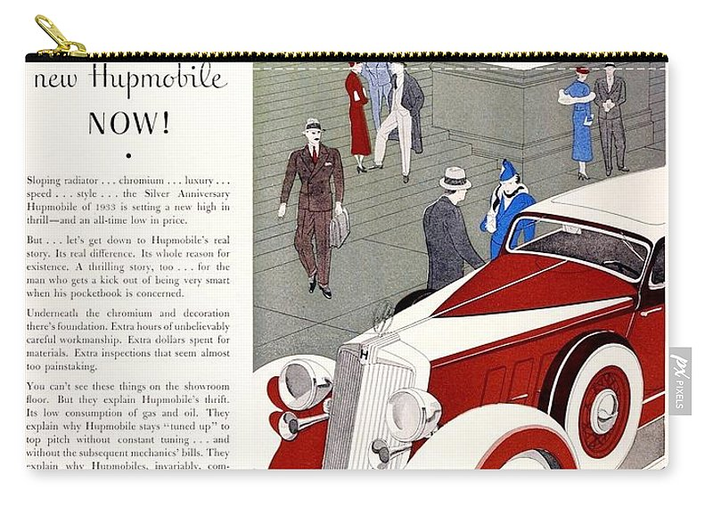 1933 Carry-all Pouch featuring the digital art 1933 - Hupmobile Sedan Automobile Advertisement - Color by John Madison