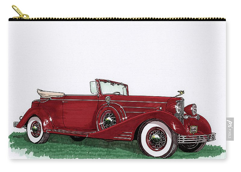 Classic Car Paintings Carry-all Pouch featuring the painting 1933 Cadillac Convert Victoria by Jack Pumphrey