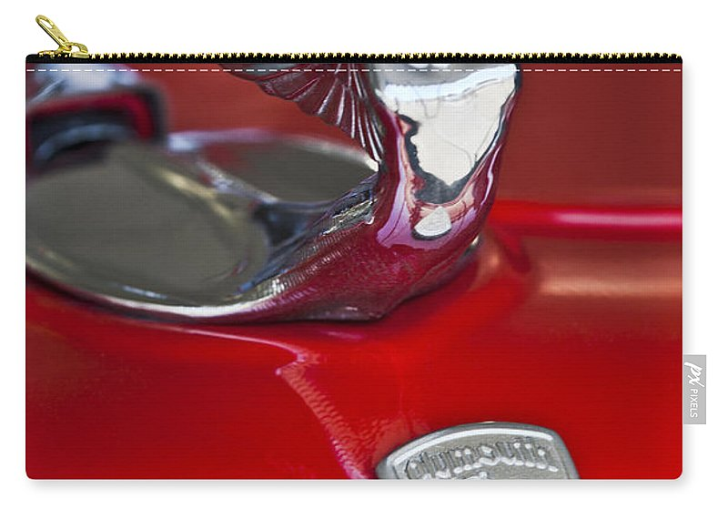 1933 Plymouth Custom Coupe Carry-all Pouch featuring the photograph 1933 Plymouth Hood Ornament by Jill Reger
