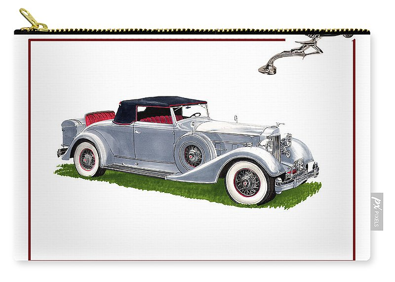 Watercolor Art Of A 1934 Packard V-12 1107 Coupe Roadster Carry-all Pouch featuring the painting 1934 Packard Twelve 1107 Coupe by Jack Pumphrey