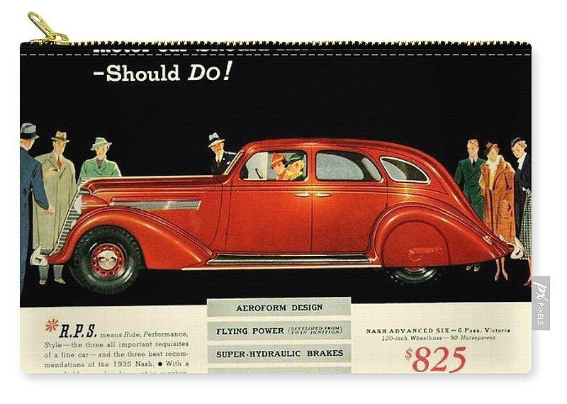 1935 Carry-all Pouch featuring the digital art 1935 - Nash Aeroform Automobile Advertisement - Color by John Madison