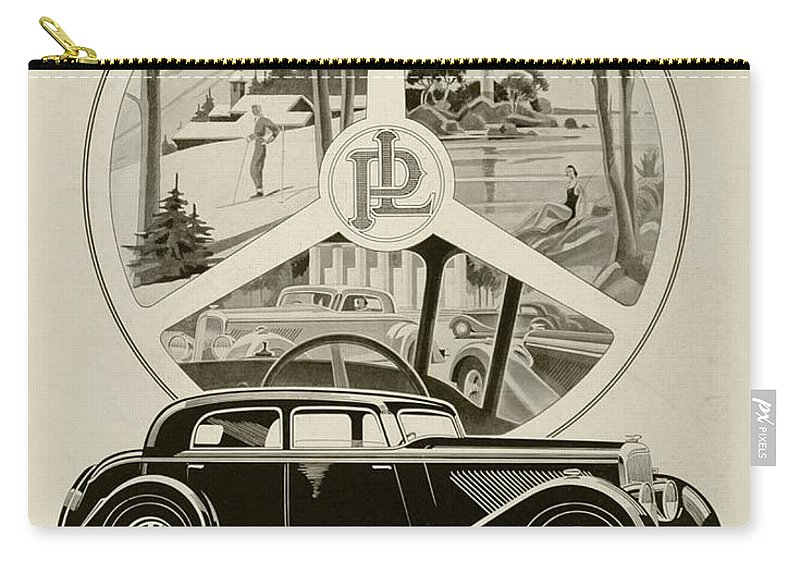 1935 Carry-all Pouch featuring the digital art 1935 - Panhard Panoramique French Automobile Advertisement by John Madison