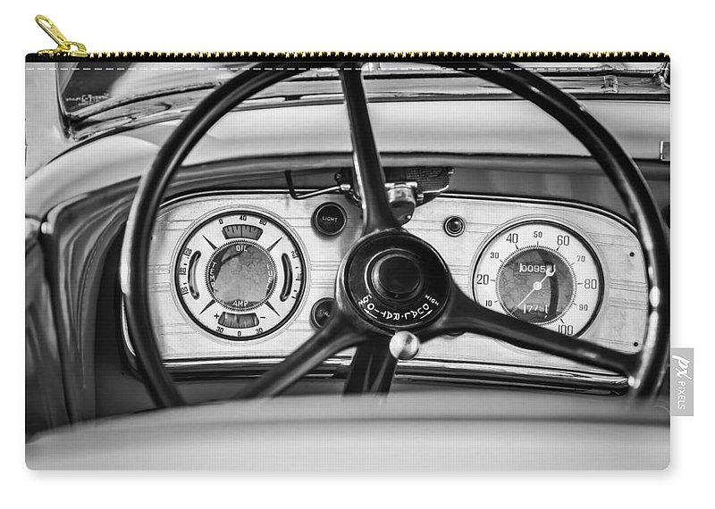 1935 Auburn 851 Supercharged Boattail Speedster Steering Wheel Carry-all Pouch featuring the photograph 1935 Auburn 851 Supercharged Boattail Speedster Steering Wheel -0862bw by Jill Reger