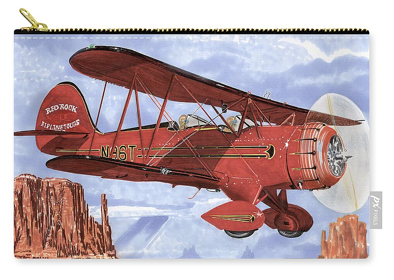 1935 Waco Bi-plane. Framed Prints Of Bi-wing Aircraft. Post Cards Of Old Airplanes. Framed Prints Of Utah Carry-all Pouch featuring the painting Monument Valley Bi-plane by Jack Pumphrey