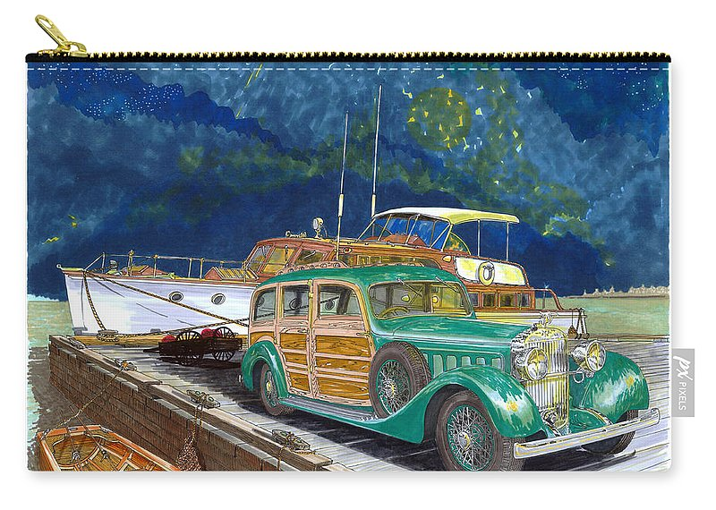 Classic Car Art Carry-all Pouch featuring the painting 1936 Hispano Suiza Shooting Brake by Jack Pumphrey