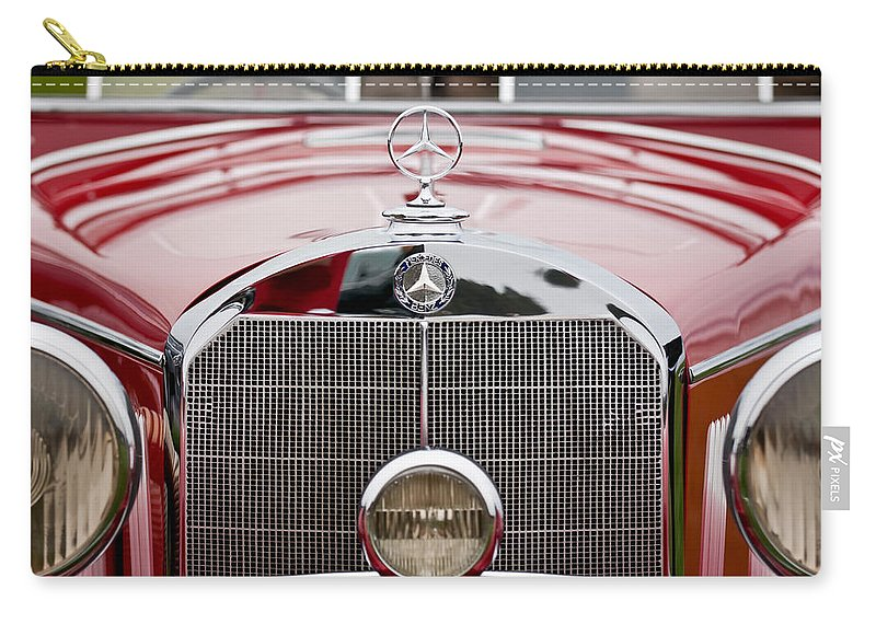 1936 Mercedes-benz 540k Mayfair Special Roadster Carry-all Pouch featuring the photograph 1936 Mercedes-benz 540k Mayfair Special Roadster Grille by Jill Reger