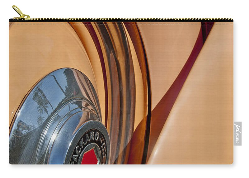 1936 Packard Carry-all Pouch featuring the photograph 1936 Packard Spare Tire by Jill Reger