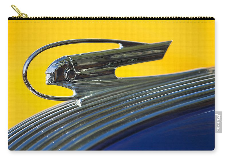 1936 Pontiac Carry-all Pouch featuring the photograph 1936 Pontiac Hood Ornament 2 by Jill Reger