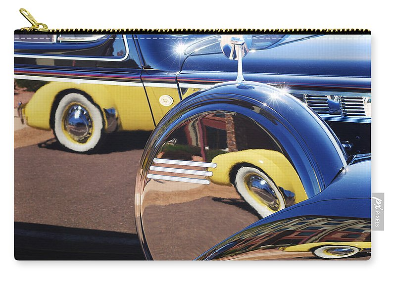 1937 Cord 812 Phaeton Reflected Into Packard Carry-all Pouch featuring the photograph 1937 Cord 812 Phaeton Reflected Into Packard by Jill Reger