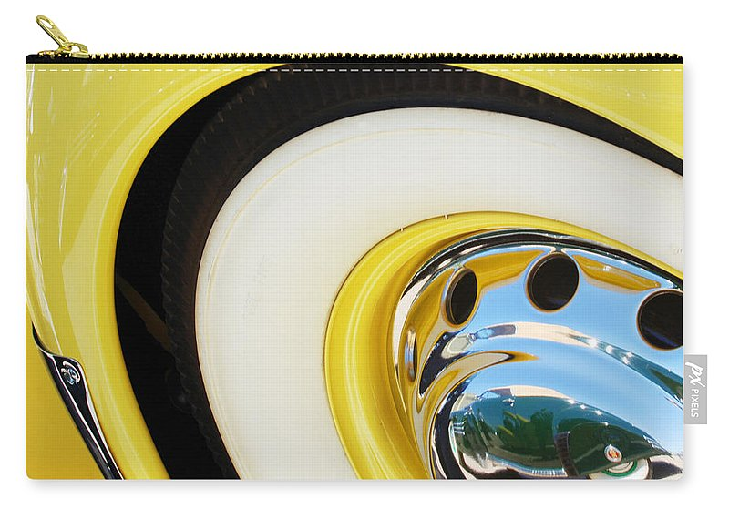 1937 Cord 812 Phaeton Wheel Rim Reflecting Cadillac Carry-all Pouch featuring the photograph 1937 Cord 812 Phaeton Wheel Rim Reflecting Cadillac by Jill Reger