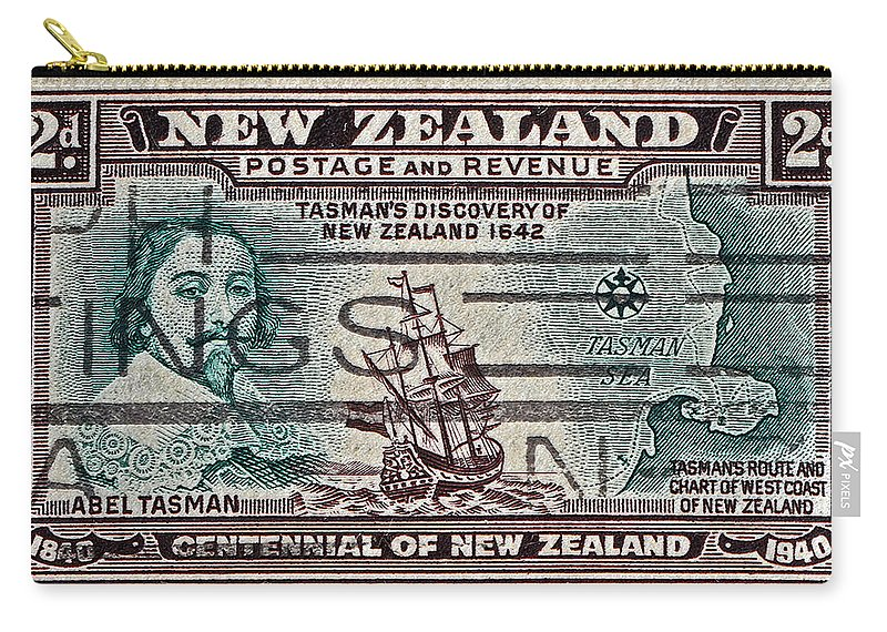 1940 Carry-all Pouch featuring the photograph 1940 Abel Tasman New Zealand Stamp by Bill Owen