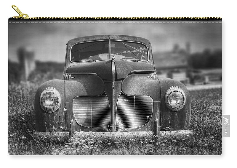 Desoto Carry-all Pouch featuring the photograph 1940 DeSoto Deluxe Black and White by Scott Norris