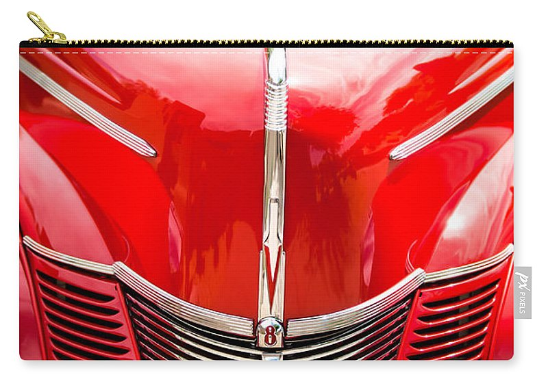 1940 Ford Deluxe Coupe Grille Carry-all Pouch featuring the photograph 1940 Ford Deluxe Coupe Grille by Jill Reger