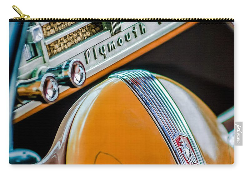 1940 Plymouth Deluxe Woody Wagon Steering Wheel Emblem Carry-all Pouch featuring the photograph 1940 Plymouth Deluxe Woody Wagon Steering Wheel Emblem -0116c by Jill Reger