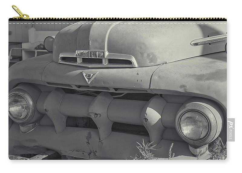 1940's Ford Truck Grill Carry-all Pouch featuring the photograph 1940's Ford Truck Black And White by Cathy Anderson