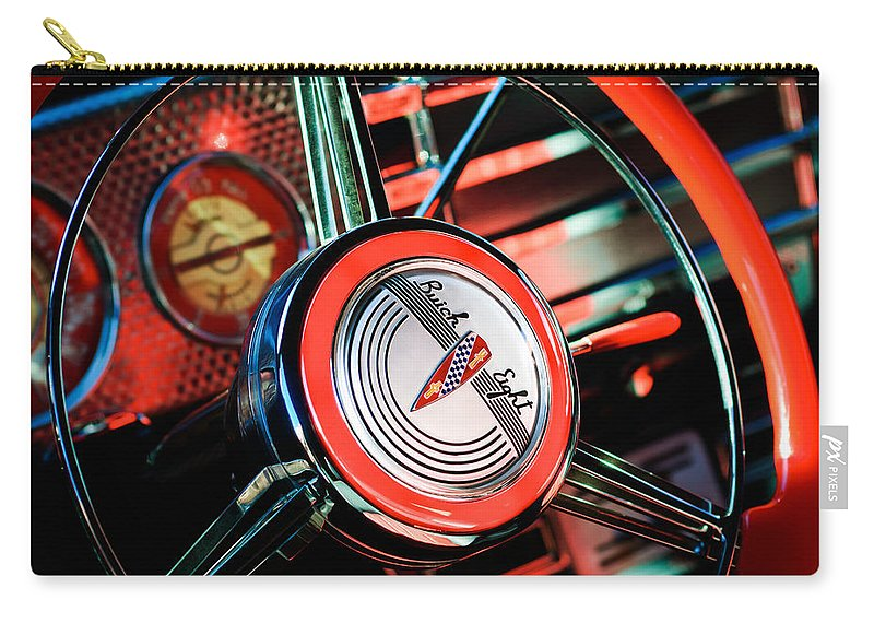 1941 Buick Eight Special Steering Wheel Emblem Carry-all Pouch featuring the photograph 1941 Buick Eight Special Steering Wheel Emblem by Jill Reger