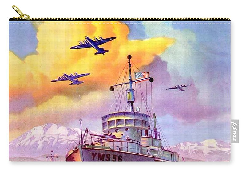 1942 Carry-all Pouch featuring the digital art 1942 - Motor Boating Magazine Cover - October - Color by John Madison