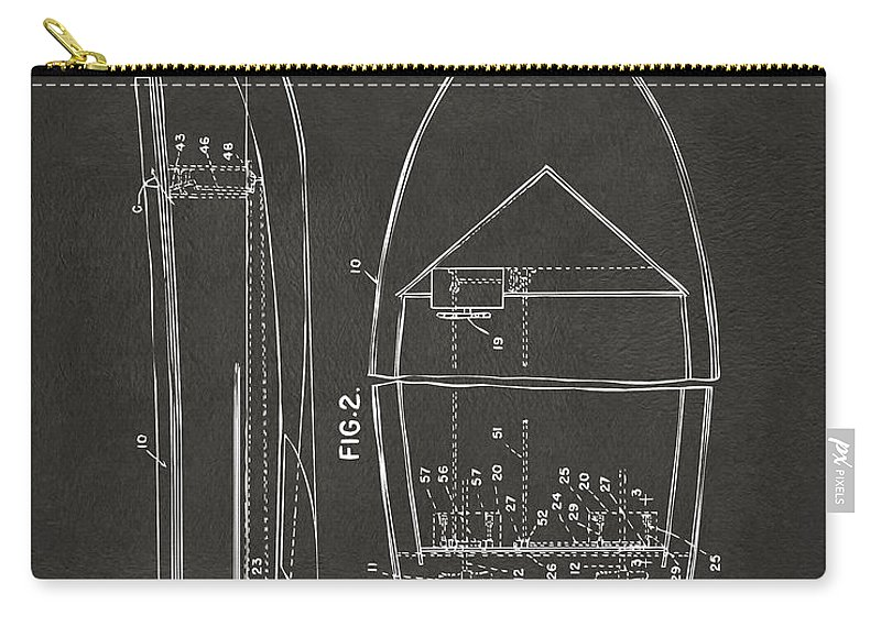 Chris Craft Carry-all Pouch featuring the digital art 1943 Chris Craft Boat Patent Artwork - Gray by Nikki Marie Smith